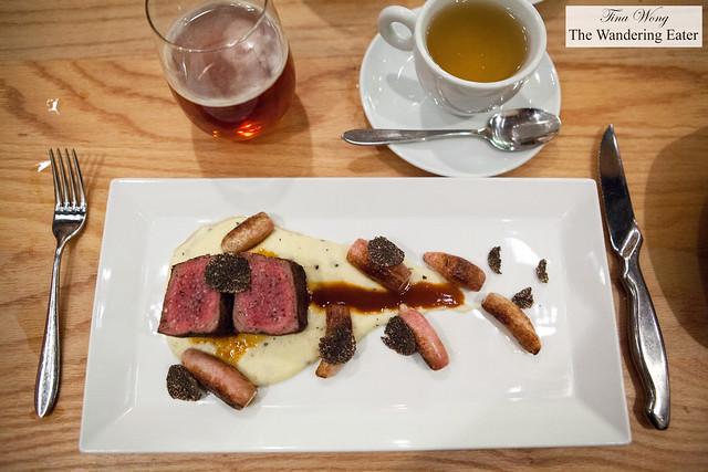 Venison loin, truffle pomme puree, duck fat roasted carrots