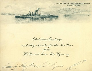 Christmas Greetings Card, USS Wyoming, 1918