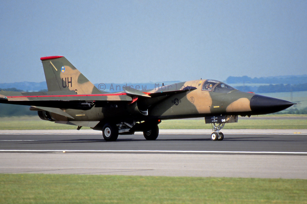 77FS F-111E arrives at Boscombe Down in June 1992.