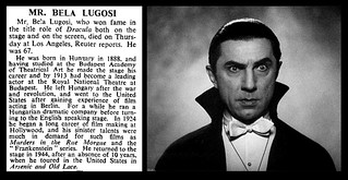 16th August 1956 - Death of Bela Lugosi | by Bradford Timeline