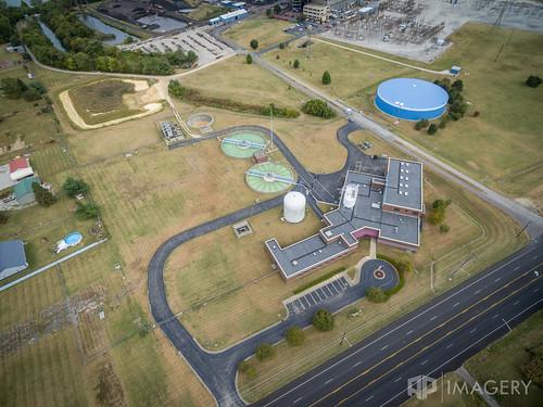 plant drone utilities cavin industrial water facility treatment municipal aerial owensboro omu dji kentucky usa