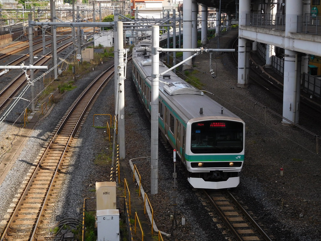 Joban Line E231-0 series train arrives at Nippori Station, Nippori, Arakawa-ku, Tokyo, Japan