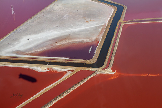 San Francisco Bay Salt Evaporation Ponds And The Zeppelin Shadow