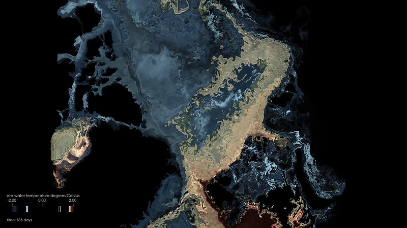 Nguyen/Heimbach Group and TACC Vislab, The University of Texas at Austin: Arctic Atlantification (still from video, 1:11 min.), 2018.