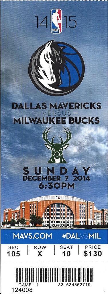 December 7, 2014, Dallas Mavericks vs Milwaukee Bucks, Ame