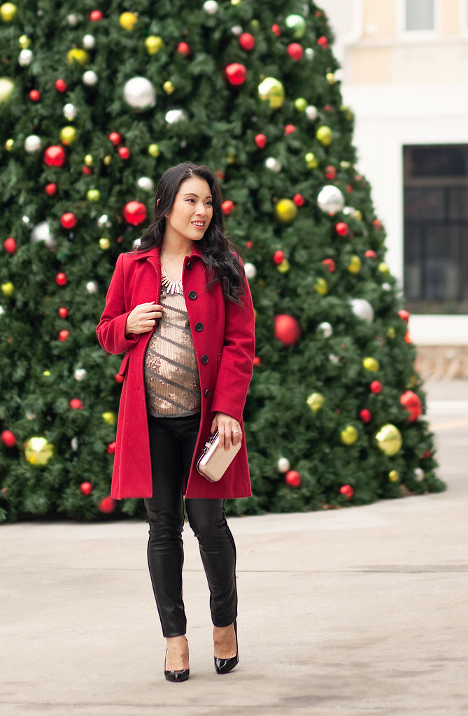 Maternity Christmas Outfit.Cute Little Blog Petite Fashion Maternity Red Wool C