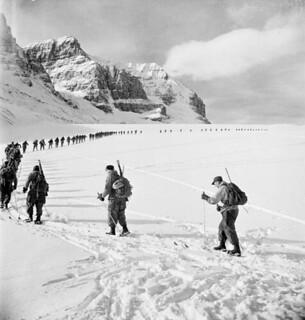 Lovat Scouts, mountaineering section, ascending the tongue of Athabasca Glacier in the Rockies / La section d'alpinisme des Lovat Scouts escalade la langue du glacier Athabasca, dans les Rocheuses