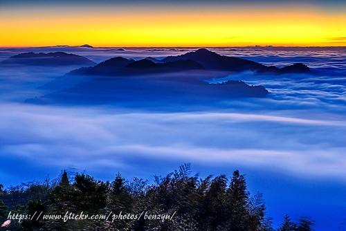 夕陽 阿里山 雲海 黃昏 山岳 雲瀑 色溫 隙頂 二延平