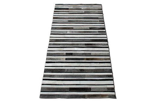 Stripes Design Cowhide Patchwork Rug | by ShineRugs