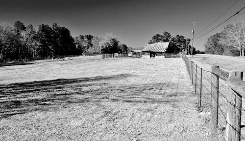 Fence, Field & Barn B&W   by Neal3K