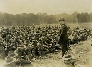 NZ Prime Minister William Massey addressing New Zealand machine gunners at Bois-De-Warnimont, France, June 1918