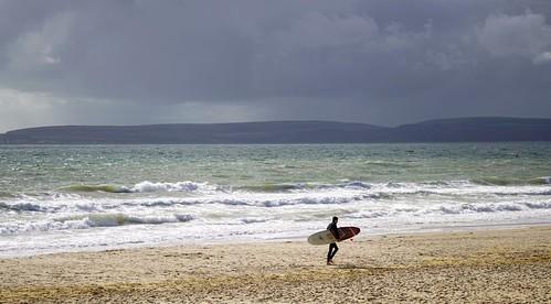 surfer board sea seaside sunday sun clouds surf waves seafront coast dorset uk october 2016 autumn stevemaskell