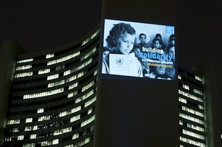 Iconic image projected on buildings in Vienna to mark International Year of Solidarity with the Palestinian People