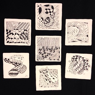 "Student tiles from ""Beyond Basics: String Theory"" class in Windsor, Ontario, 2016-09-10. 