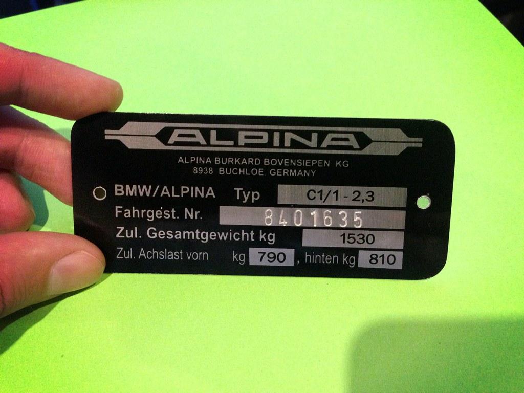Bmw Alpina C11 23 Vin Plate Bmw Alpina Vintage Plates
