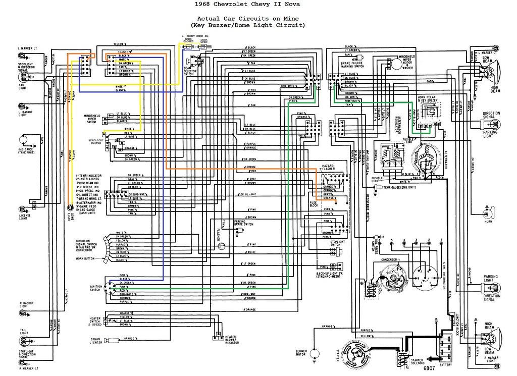 1968 Chevrolet Nova Wiring Diagram  Each Circuit Highlight