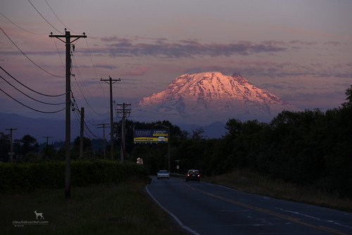 washington mtrainier mountrainier volcano stratovolcano sunset dusk