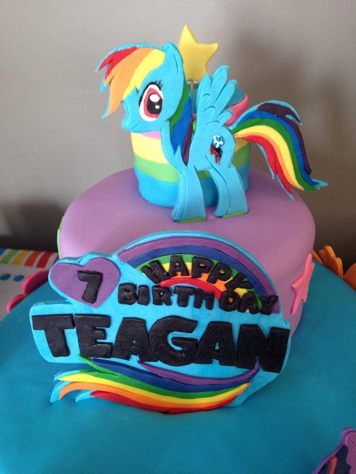 Cool Rainbow Dash My Little Ponies Birthday Cake Three Tiered Flickr Funny Birthday Cards Online Fluifree Goldxyz