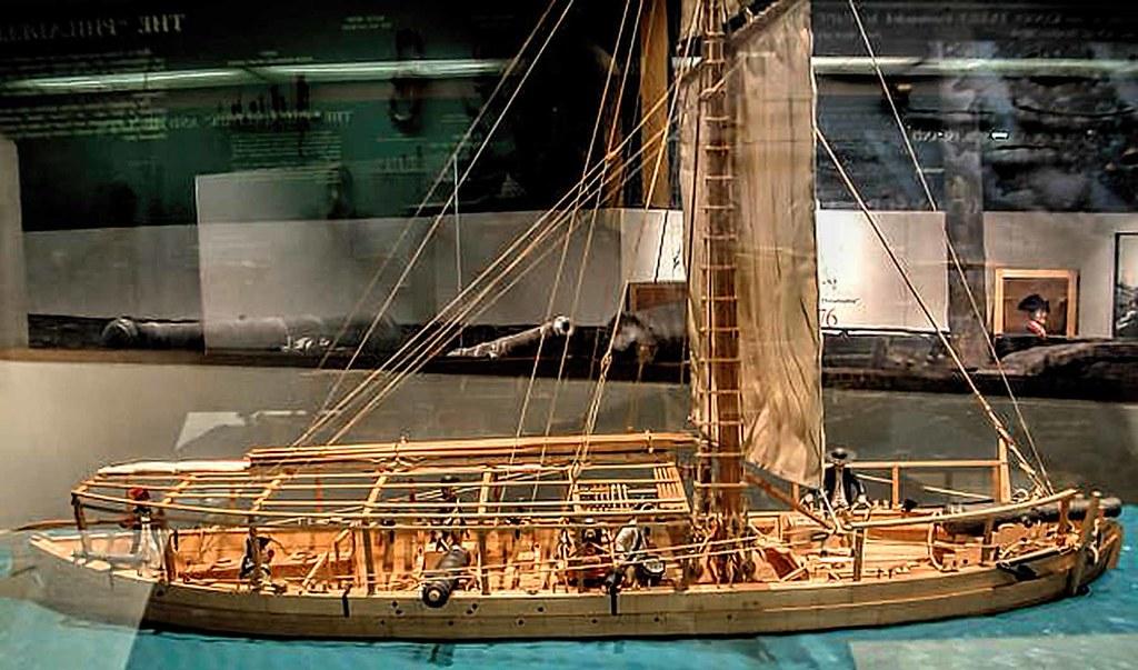Glass Case Model Of The Gunboat Philadelphia The