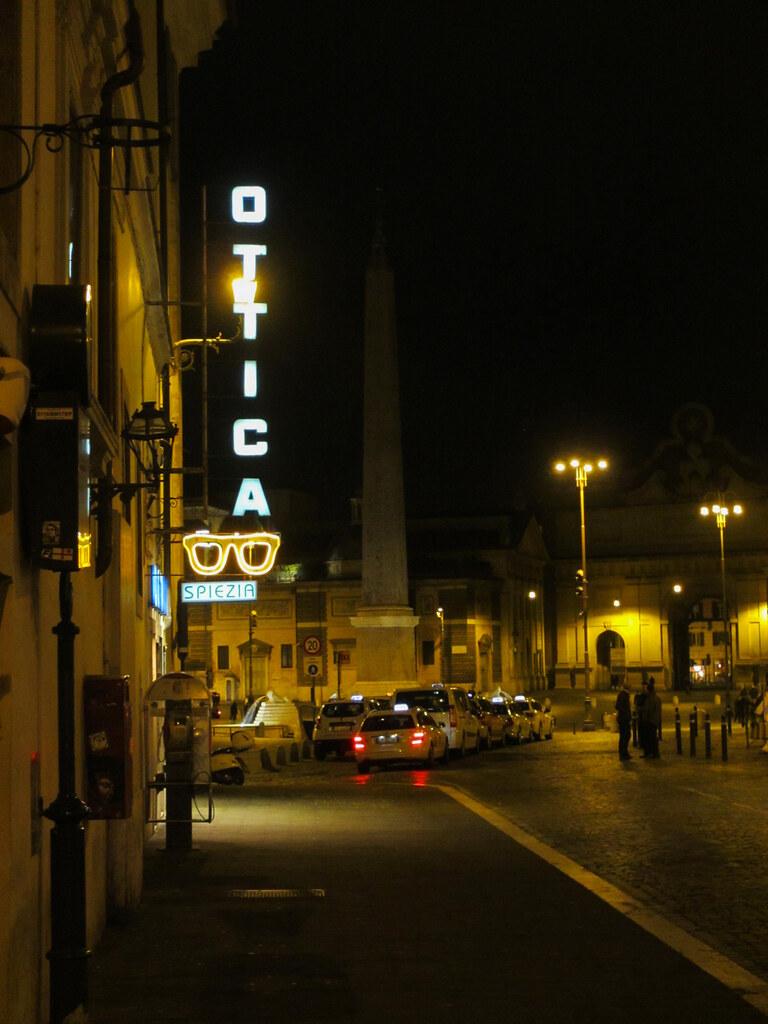 Ottica: neon sign at night, Via del Babuino, Rome, Italy ...