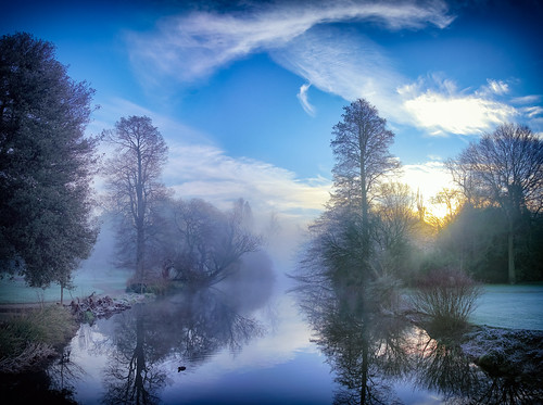 winter weather landscape lake river gardens water reflection simonandhiscamera sky syonhousepark syon syonpark syonhouse cloud brentford isleworth morning sunrise serene beauty frost mist middlesex london fog blue colours enchanted nature outdoor sunlight shade dawn trees