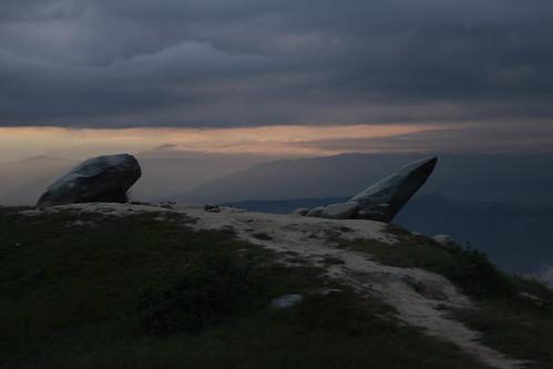 sunrise nepal dhulikhel stones clouds