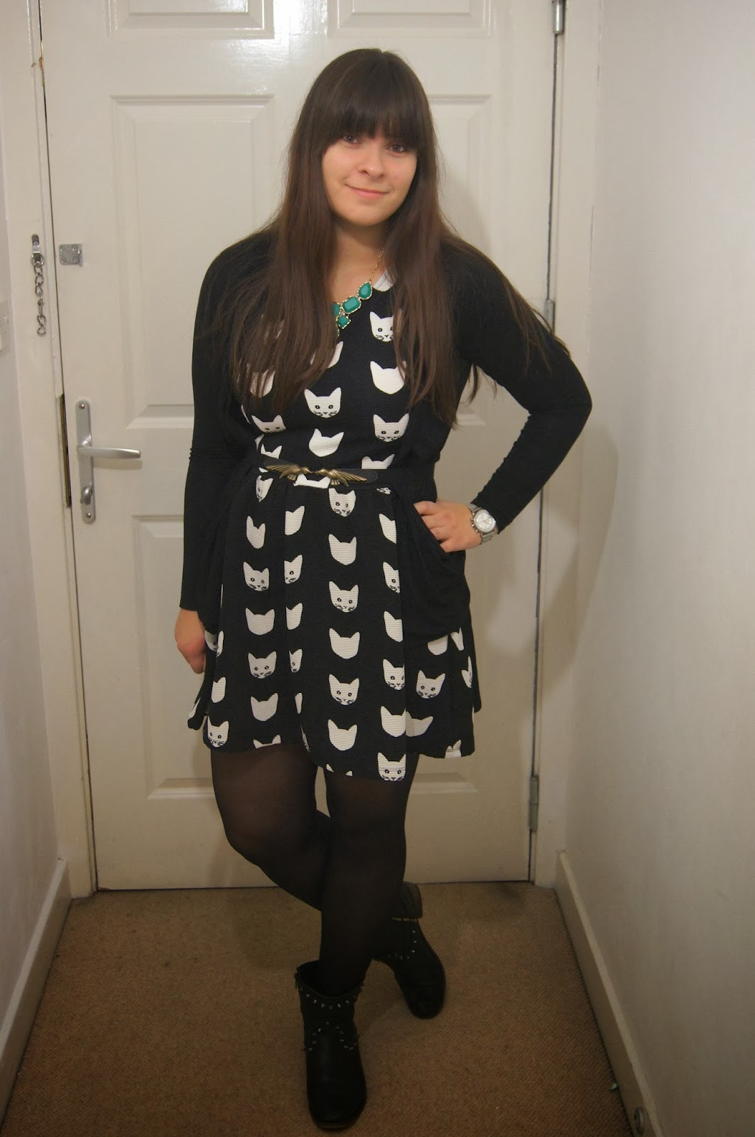 Outfit post: The monochrome cat dress of dreams