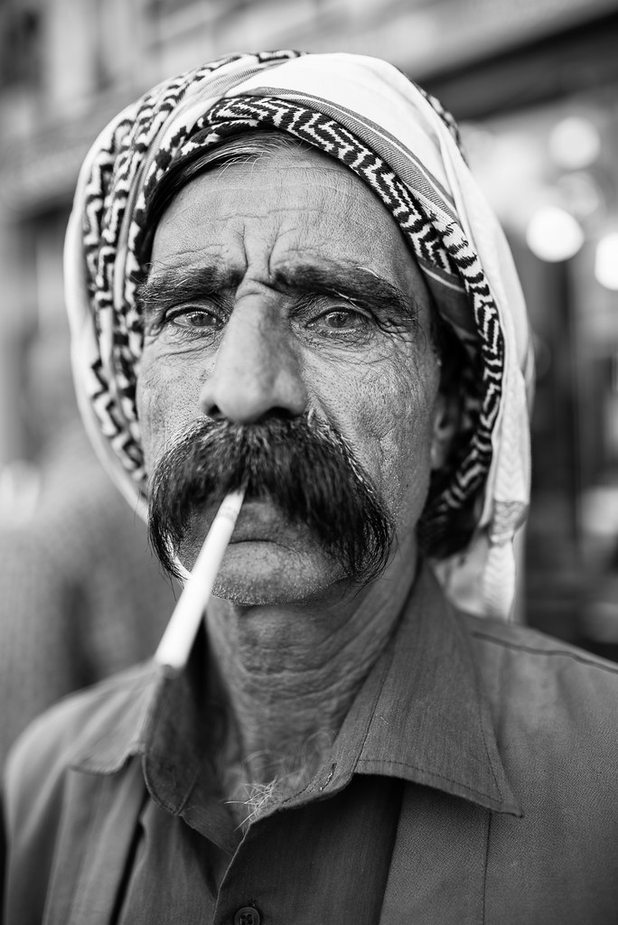 Long mustache for a long cigarette