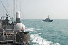 USS Lassen (DDG 82), right, conducts surfarce warfare operations with the Japan Maritime Self-Defense Force's JS Kurama (DDH 144). (U.S. Navy/Lt. j.g. Lauren Chatmas)