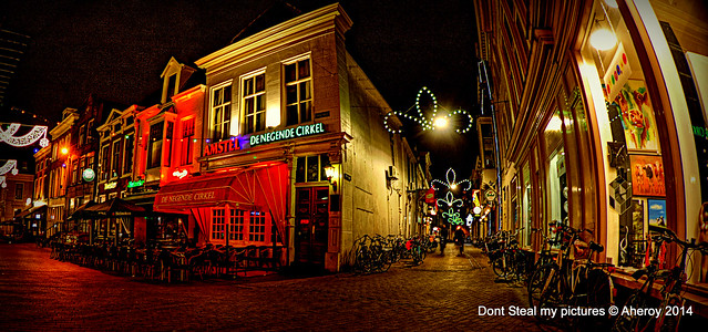 Poeleplein & Peperstraat by Night,Groningen stad,the Netherlands,Europe