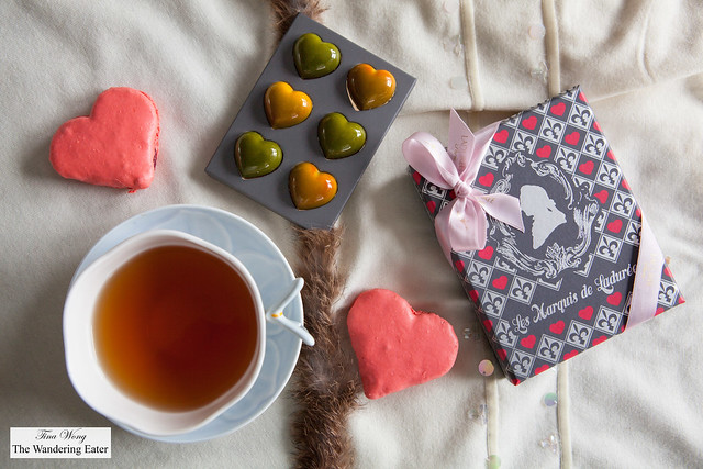 Ladurée Valentine's Day collection - Heart shaped macarons filled with rose raspberry ginger jam & Heart-shaped chocolates