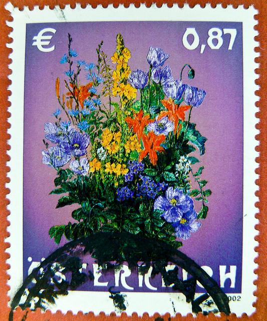 great stamp Austria 87c (bouquet of flowers, csokor, 花束, bouquet de fleurs, kytice, ramo de flores, μπουκέτο, Blumenstrauß, buket, mazzo di fiori, буке́т, 一束鲜花, wiązanka, गुलदस्ता ) postage timbre Autriche selo sello francobollo Austria почтовые марки