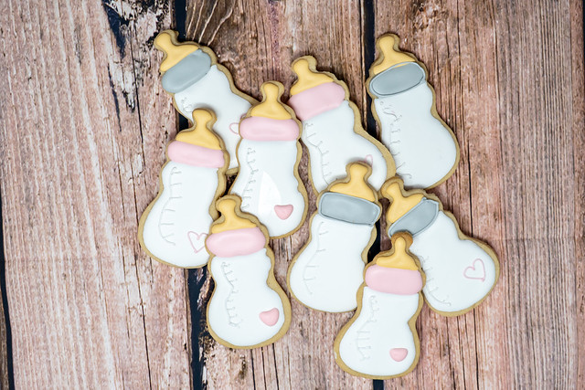 Bottles - Baby Shower decorated sugar cookies
