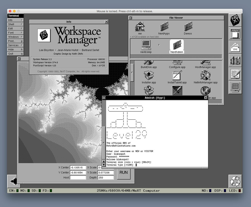Logging into Level 29 BBS on an original NeXT computer (...emulated via Previous 2.0)