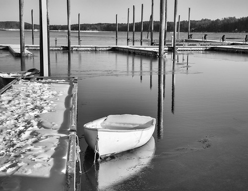 winter blackandwhite bw snow ice reflections harbor boat maine freeport