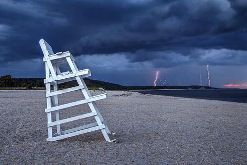 weather sky lightning storm beach ocean atlantic landscape severe thunderstorm