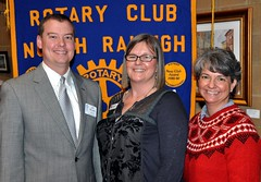 Pictured with Club President Jay Williams are guest speaker Johanna Lynch and Beginnings associate Kelleigh Bland.