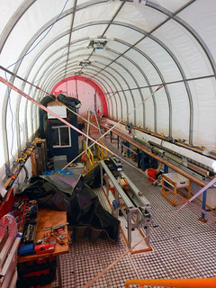 Inside the drill tent after it has been winterized for the 2015 austral winter | by U.S. Ice Drilling
