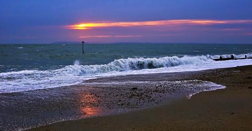 sunset seascape coast haylingisland hampshire shore sandypoint