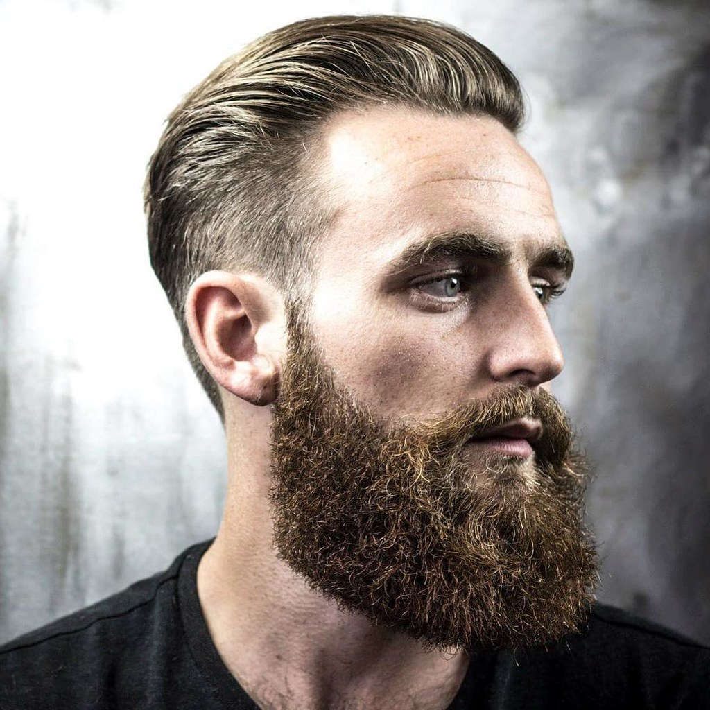 Bearded Men With Great Hair Style And With Full And Thick