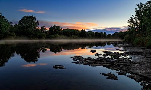 carletonplace dawn mississippiriver sunrise mist ontario canada ca hdr