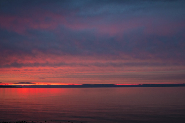 Fantastic sunset on the lake Baikal