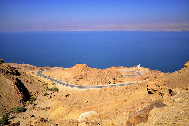 Road from city of Madaba to Dead Sea & Jordan Valley.