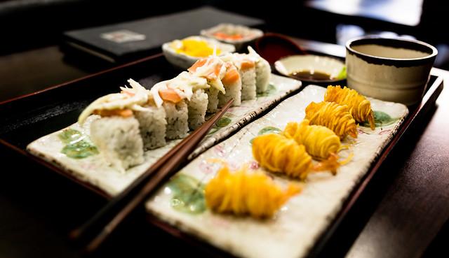 Sushi with Potato Wrapped Fried Shrimp