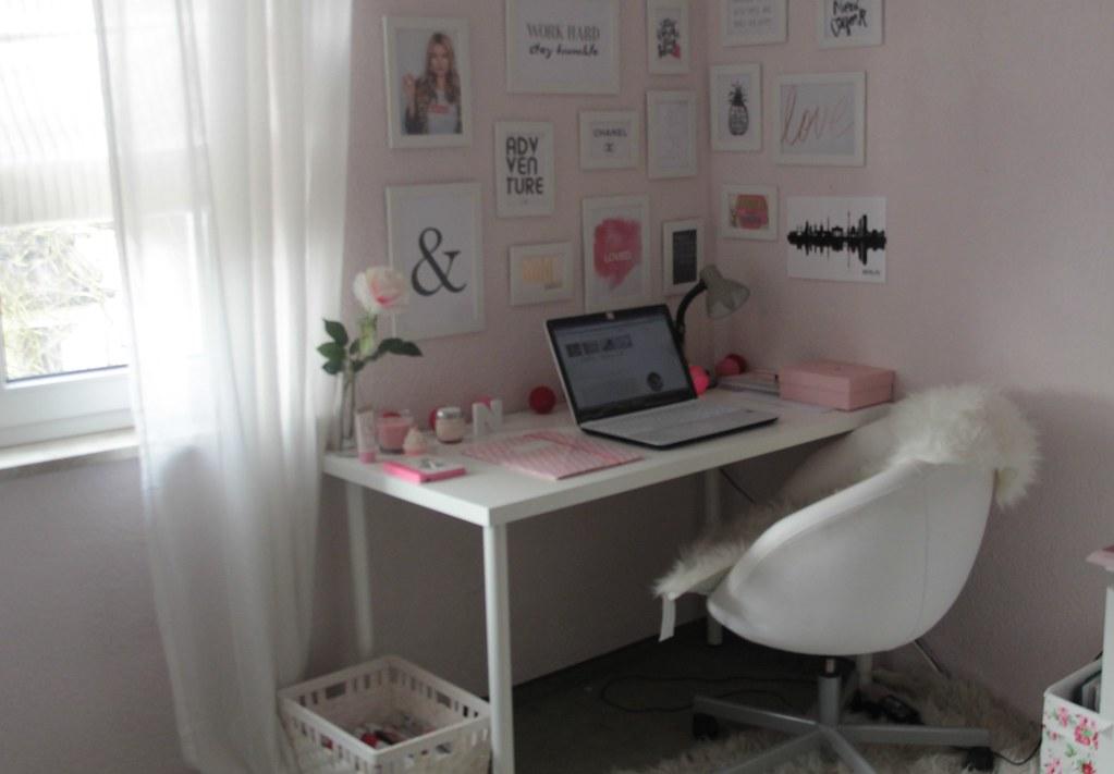 Home Office Schreibtisch Arbeitsplatz Bilderwand Weiss Ros Flickr