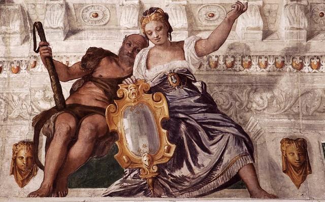 Paolo Veronese, Villa Barbaro, Maser, Klugheit mit dem Spiegel und Tapferkeit als Herkules (Prudence and Hercules as Courage)