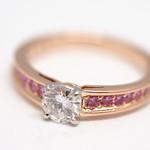 立爪の指輪をリフォーム Diamond and pink sapphire Ring.