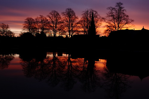 reflection water sunrise lichfield project365 canon400d canonefs24mmstm