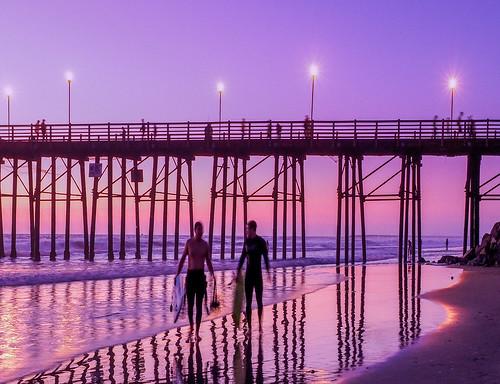 ocean california sunset beach pier sand unitedstates oceanside