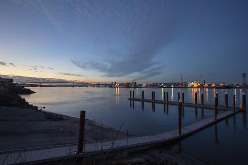 nature docks twilight columbiariver lewisandclarkbridge rainieroregon